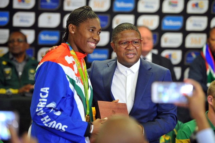 Minister of Sports Fikile Mbalula during the South Africa's  off